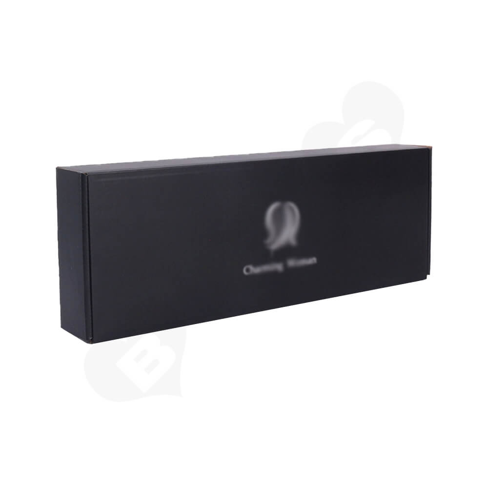 Black Color Printed Shipping Box For Hair Extension Side View One
