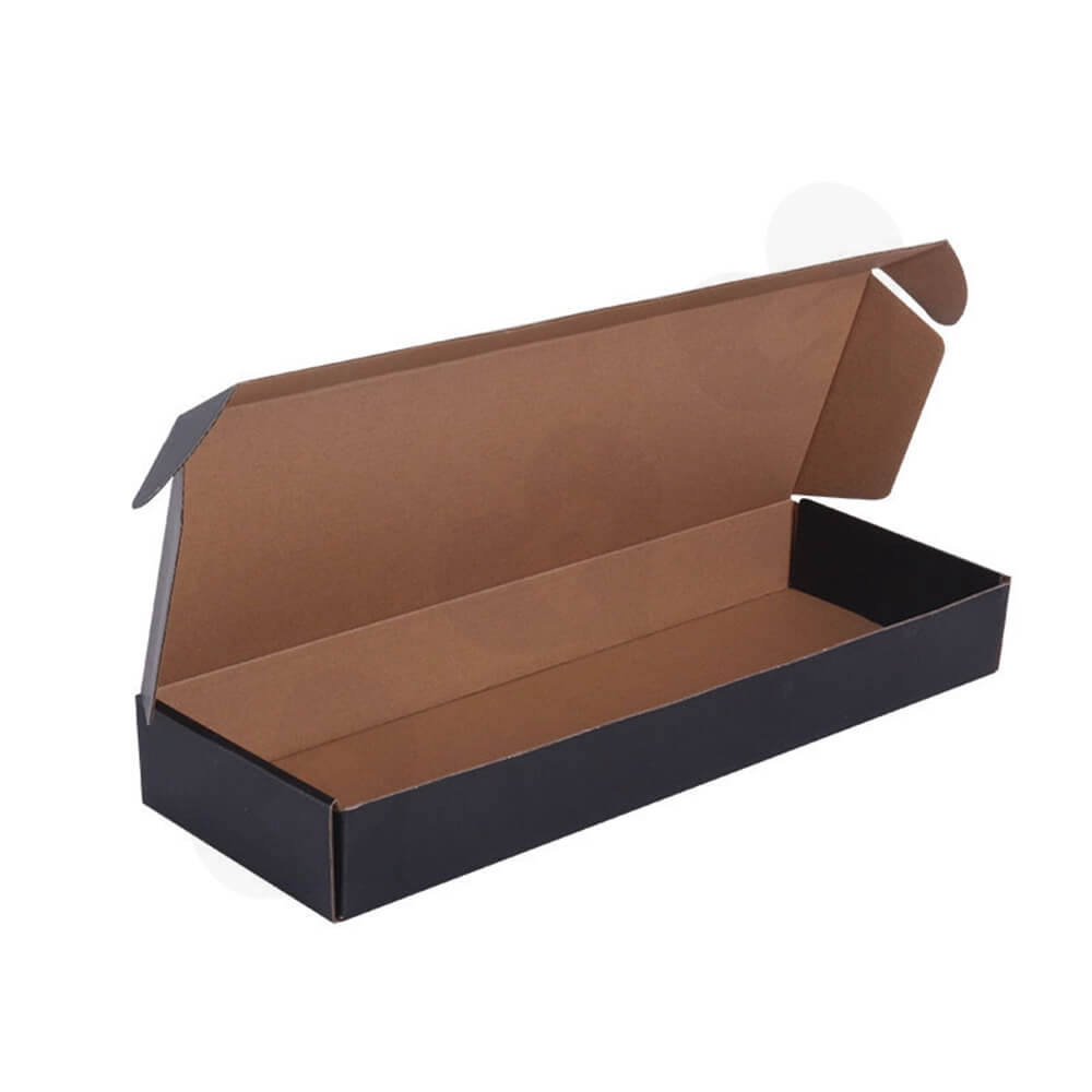 Black Color Printed Shipping Box For Hair Extension Side View Three