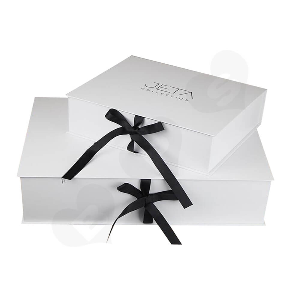 Branded Book Shape Gift Box With Ribbon Closure For Hair Extension Side View Four