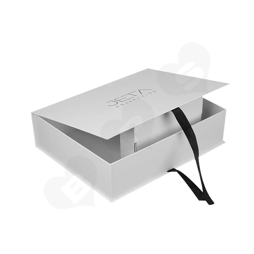 Branded Book Shape Gift Box With Ribbon Closure For Hair Extension Side View One