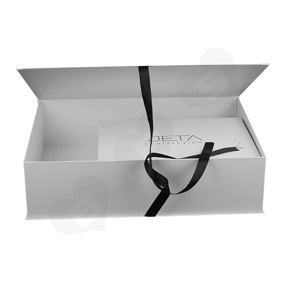 Branded Book Shape Gift Box With Ribbon Closure For Hair Extension Side View Three