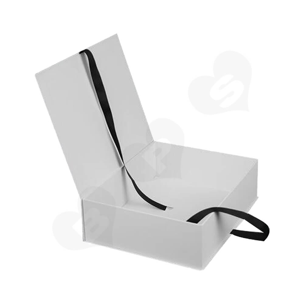 Branded Book Shape Gift Box With Ribbon Closure For Hair Extension Side View Two