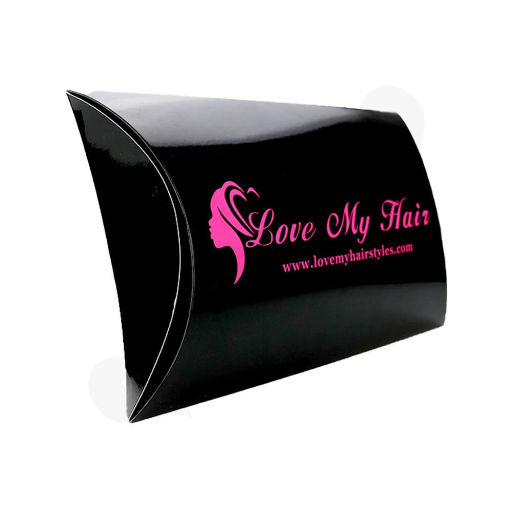 Custom Branded Glossy Black Pillow Box For Hair Extension Side View One