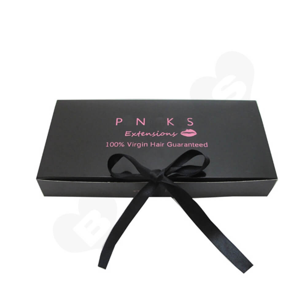 Custom Folding Carton With Silk Ribbon Closure For Wig Side View One