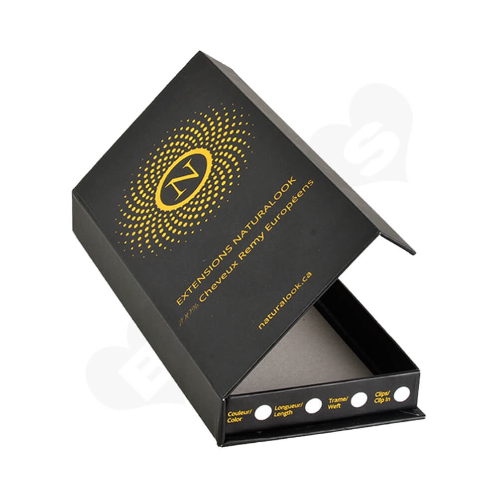Custom Gift Box For Hair Extension With Gold Foil Stamping Side View Three