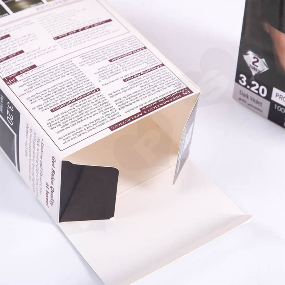 Custom Printed Folding Carton For Wig With Silver Foil Stamping Side View Four