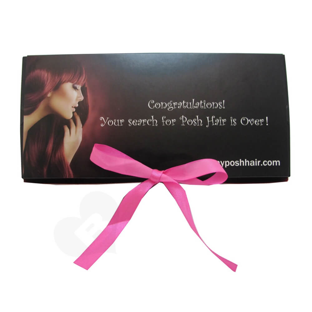 Custom Printed Folding Carton With Ribbon For Wig Side View Three