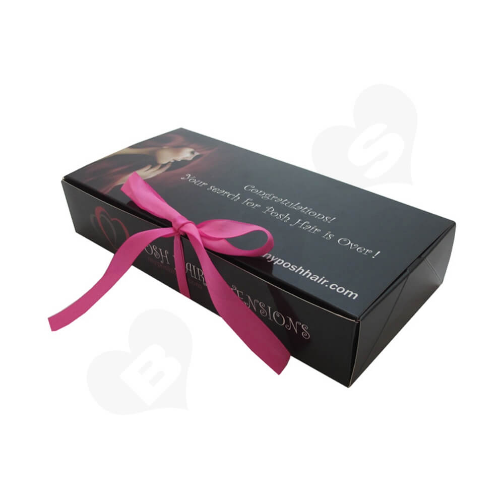 Custom Printed Folding Carton With Ribbon For Wig Side View Two
