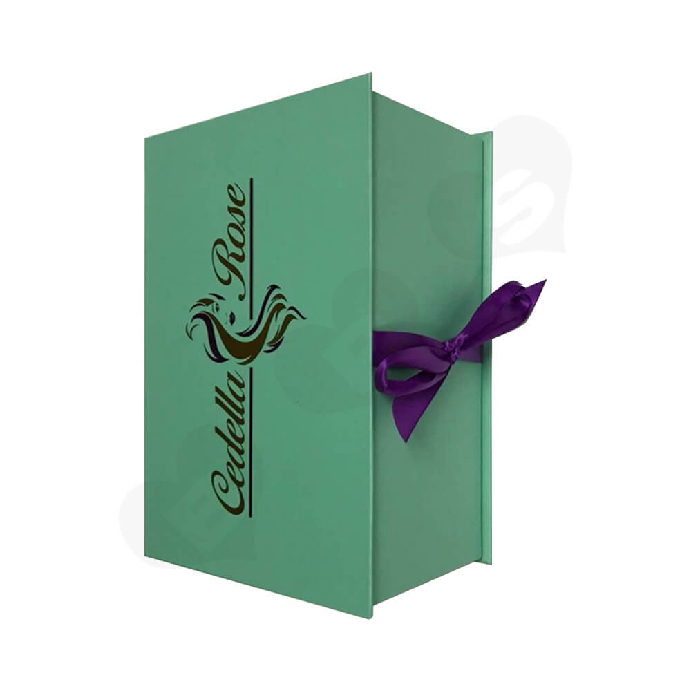 Customizable Hinged Lid Wig Box With Ribbon Closure Side View Two