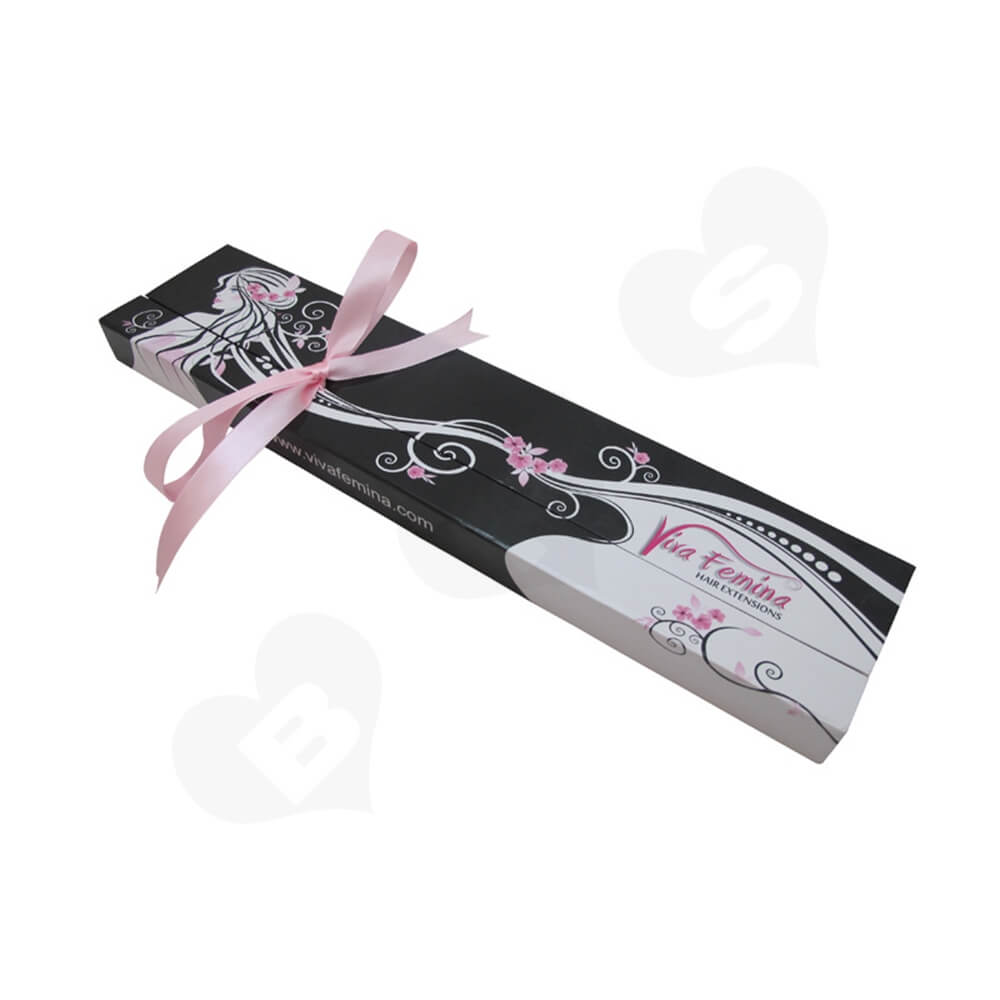 Double Sided Open Gift Box For Hair Extension Side View One