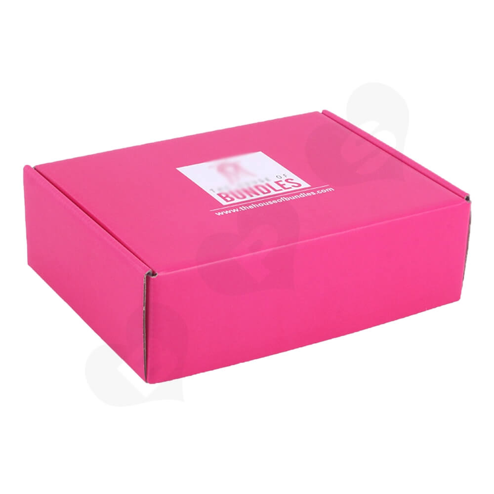 Double Sided Pink Printed Shipping Box For Wig Side View One