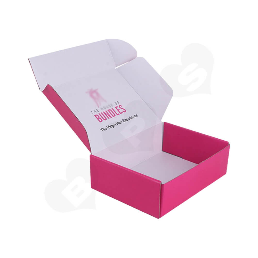 Double Sided Pink Printed Shipping Box For Wig Side View Two