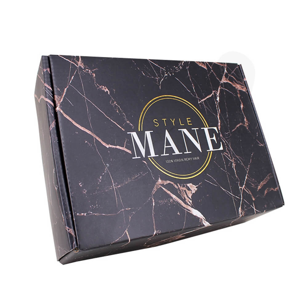 Double Sided Printing Matte Coating Shipping Mailer Box For Wig Side View Four