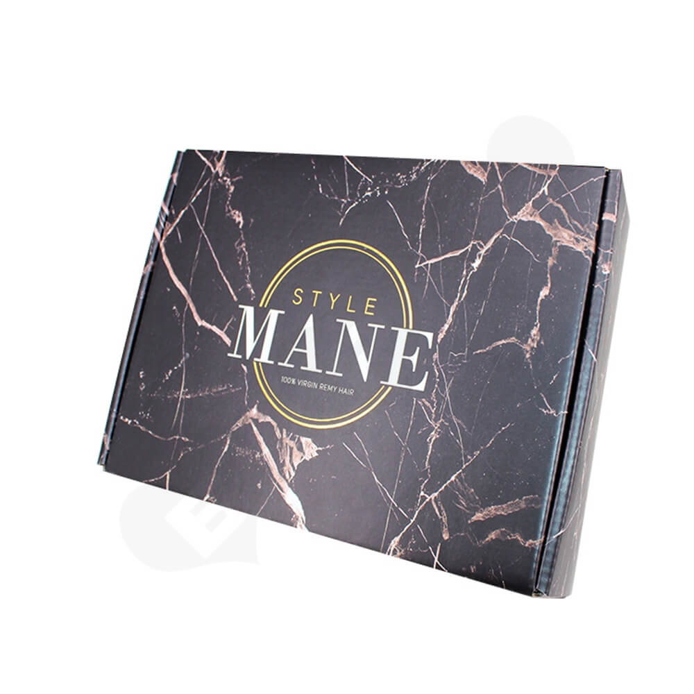 Double Sided Printing Matte Coating Shipping Mailer Box For Wig Side View One