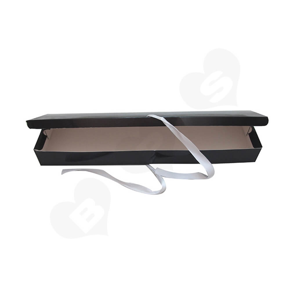 Gloss Coating Black Paper Box For Hair Extension Side View Five