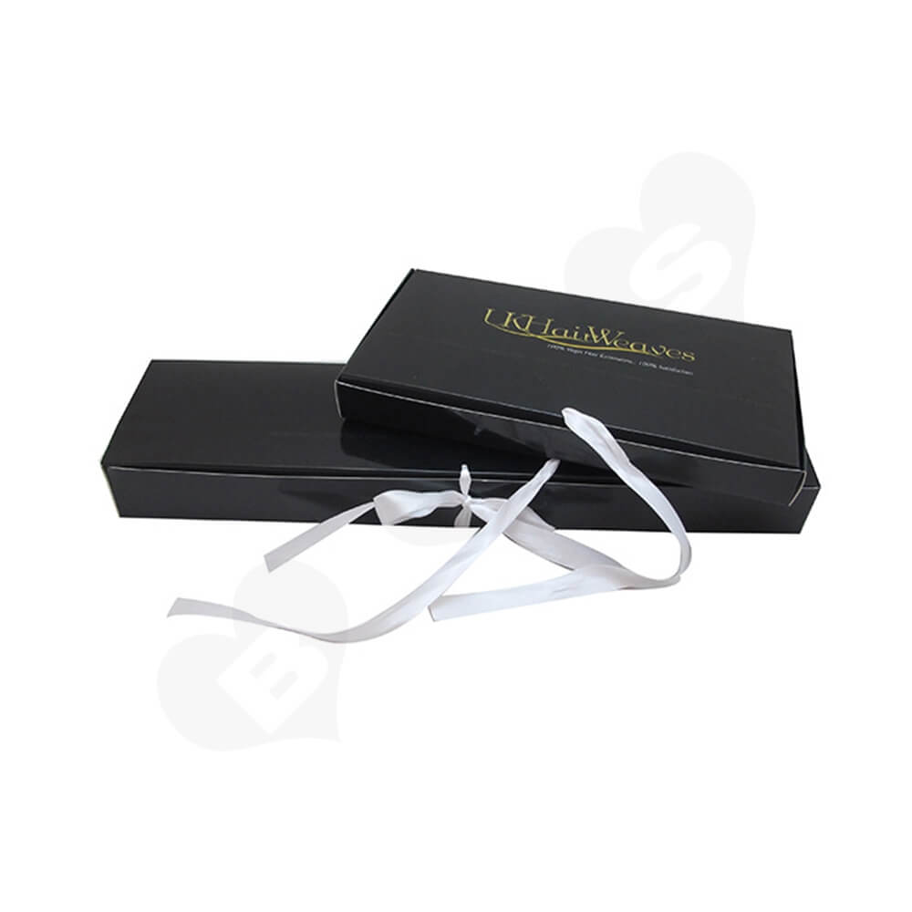 Gloss Coating Black Paper Box For Hair Extension Side View Three