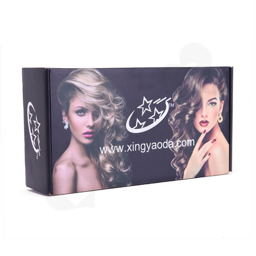 Gloss Coating Corrugated Mailer Box For Hair Extension Side View One