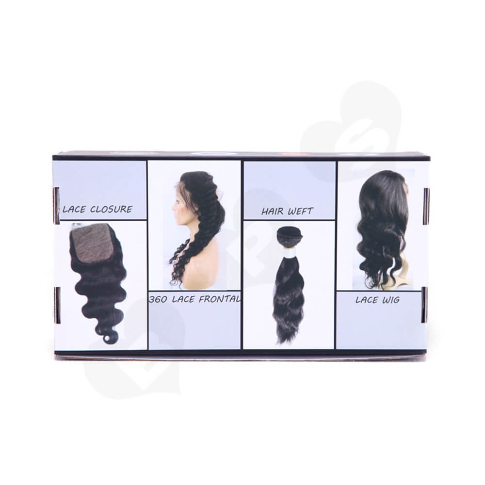 Gloss Coating Corrugated Mailer Box For Hair Extension Side View Three