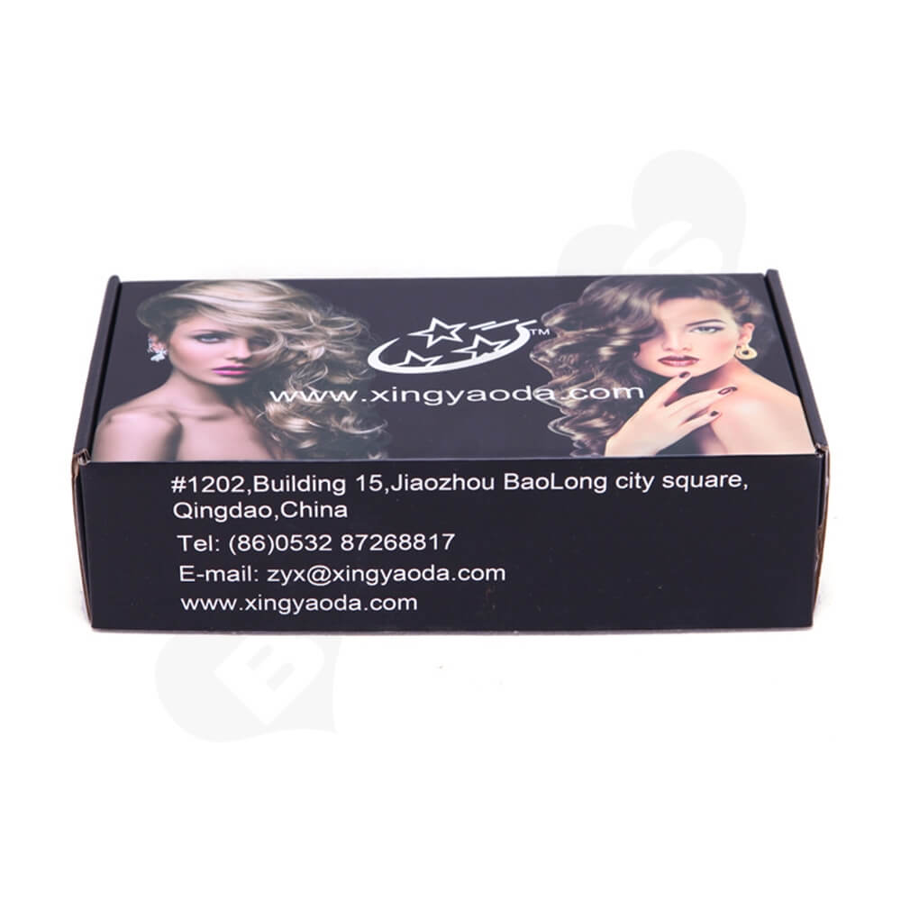 Gloss Coating Corrugated Mailer Box For Hair Extension Side View Two
