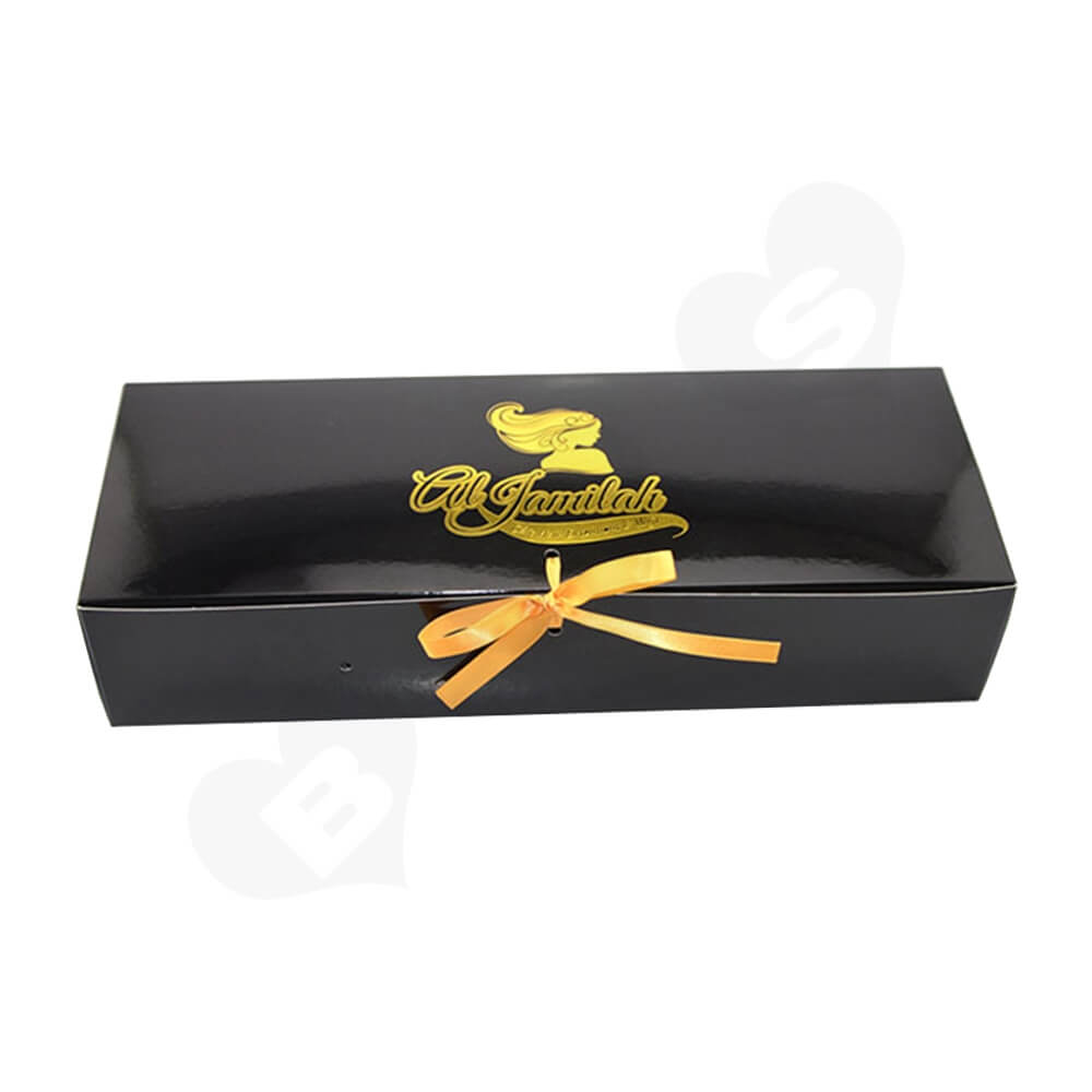 Glossy Gold Foil Stamping Folding Carton For Hair Extension Side View One
