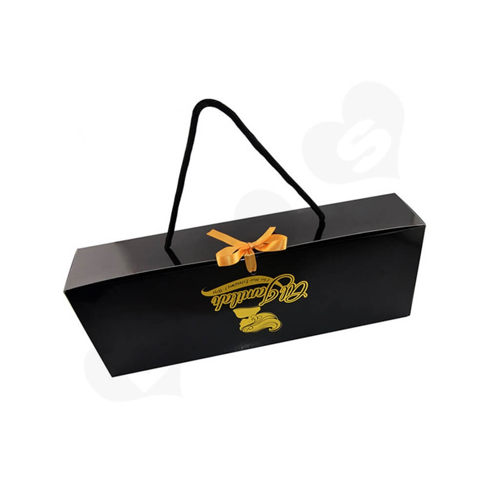 Glossy Gold Foil Stamping Folding Carton For Hair Extension Side View Three