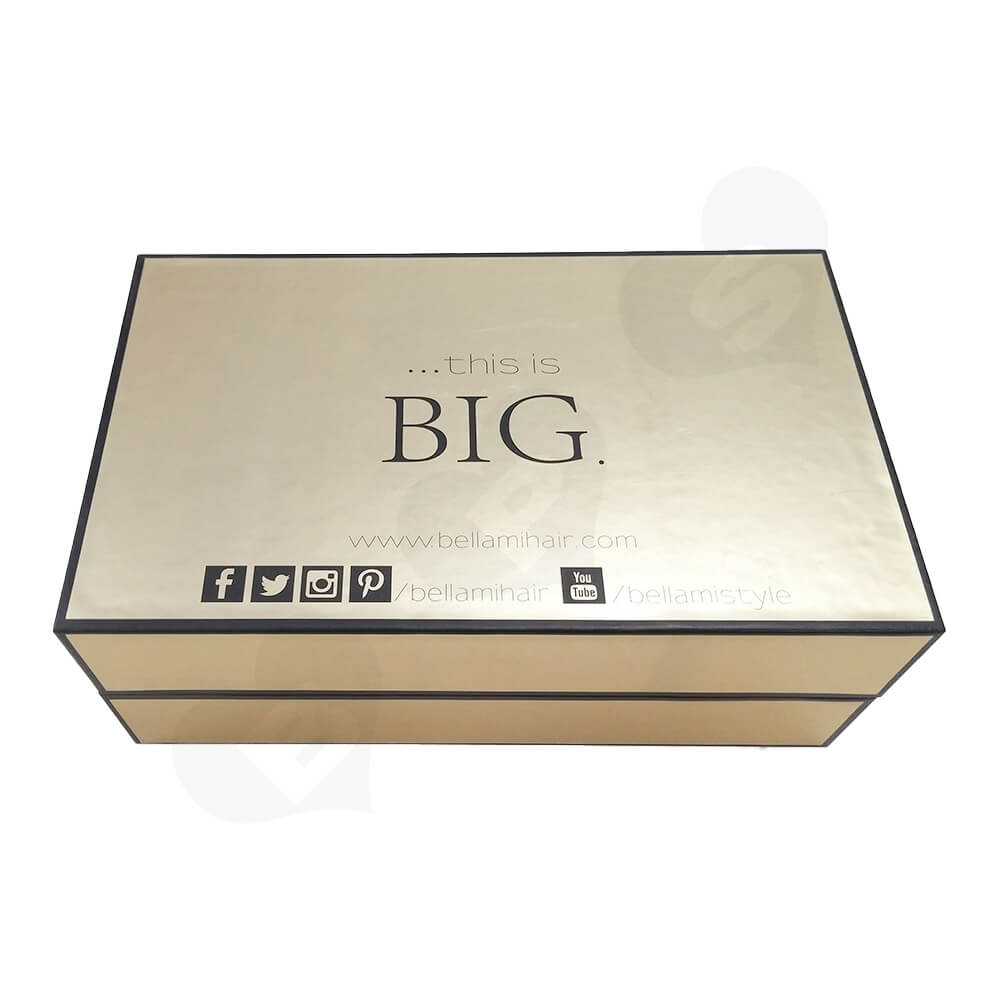Gold Specialty Paper Coated Hinged Lid Gift Box For Wig Side View One