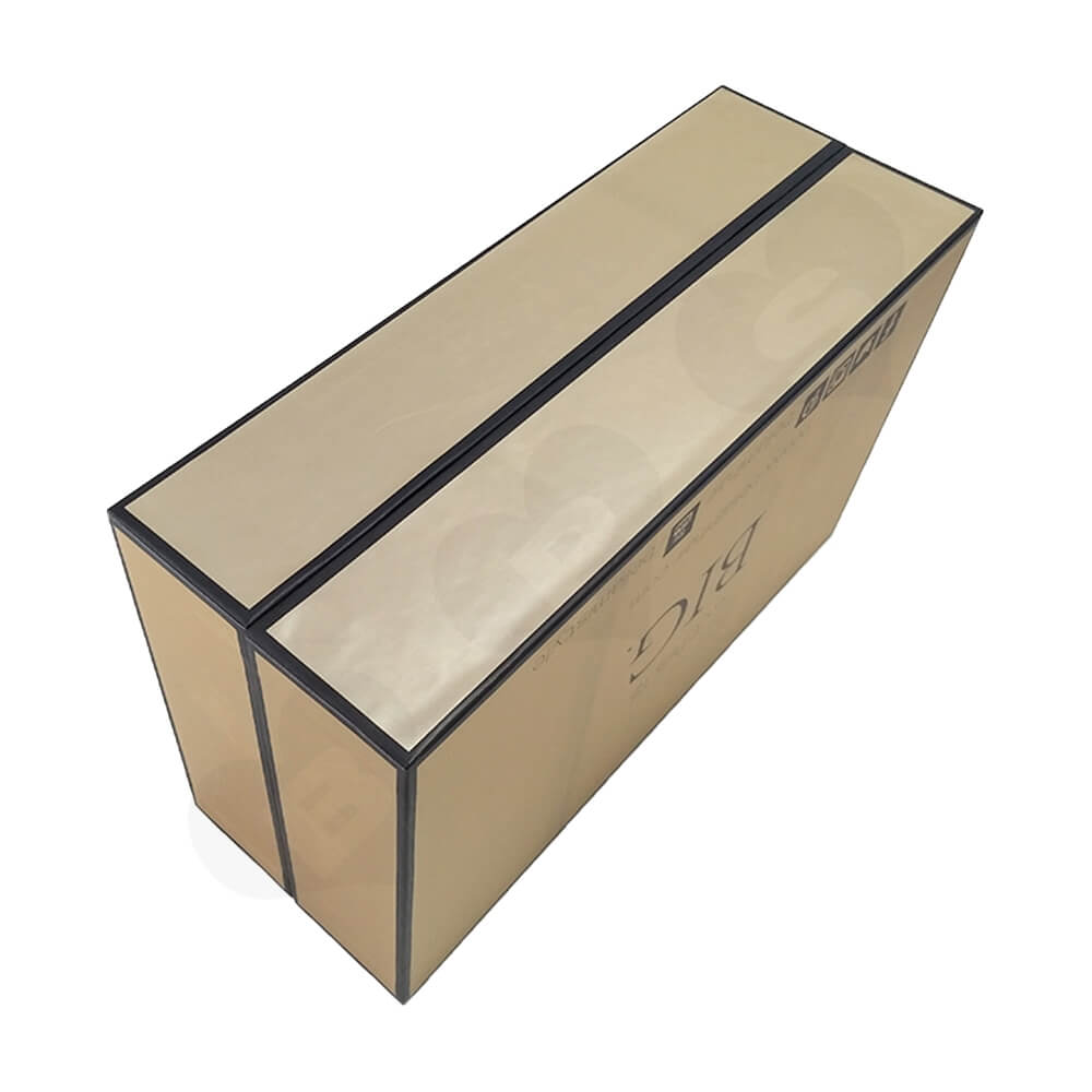 Gold Specialty Paper Coated Hinged Lid Gift Box For Wig Side View Three