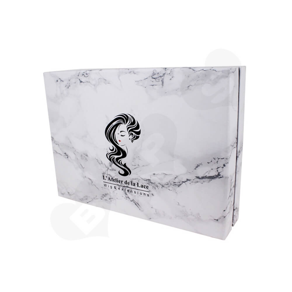 Marble Style Printed Gift Box For Fashion Wig Side View Five