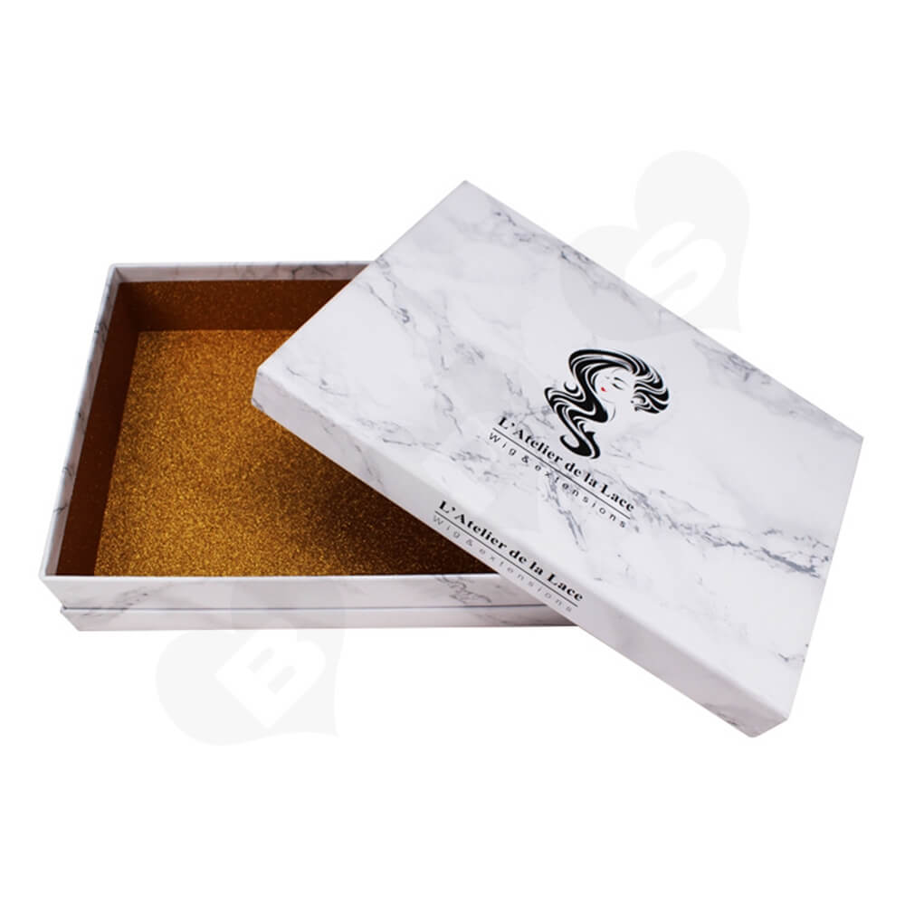 Marble Style Printed Gift Box For Fashion Wig Side View One