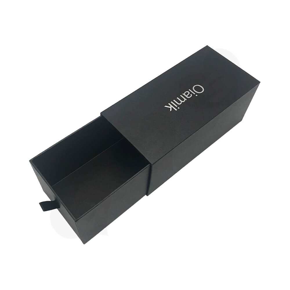 Matte Black Cardboard Drawer Box For Wig Side View One