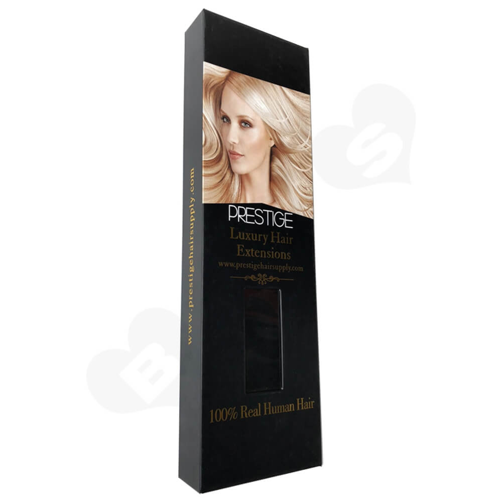 Matte Black Lamination Magnetic Gift Box For Hair Extension Side View Two