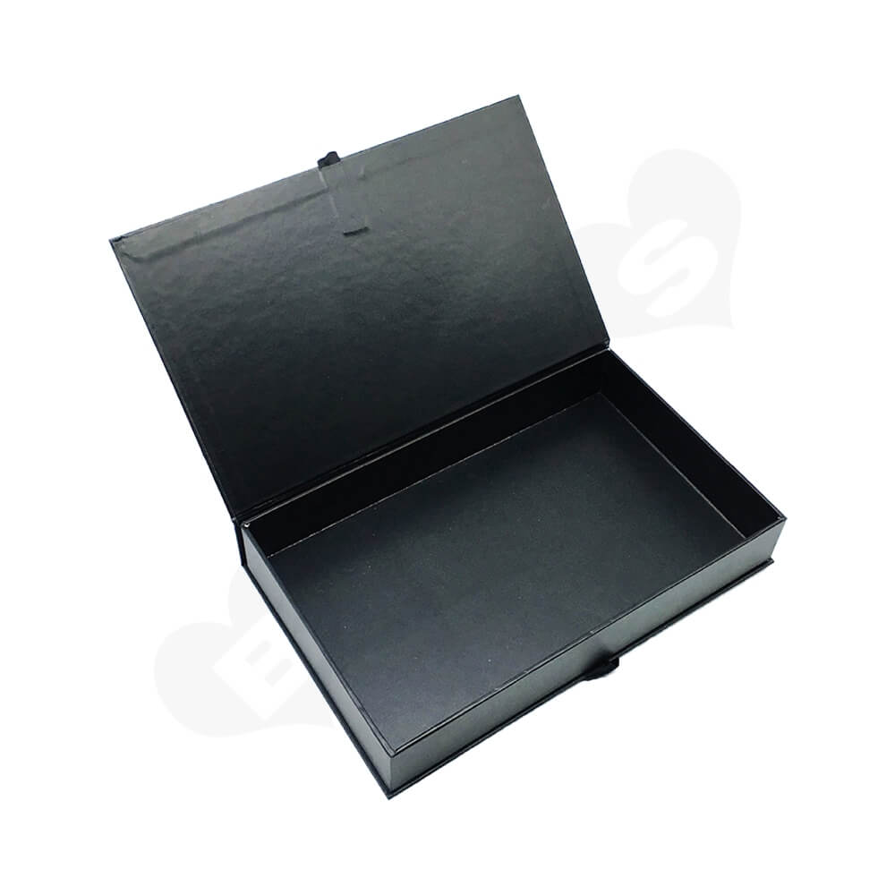 Matte Coating Book Shape Gift Box With Ribbon For Hair Extension Side View Four