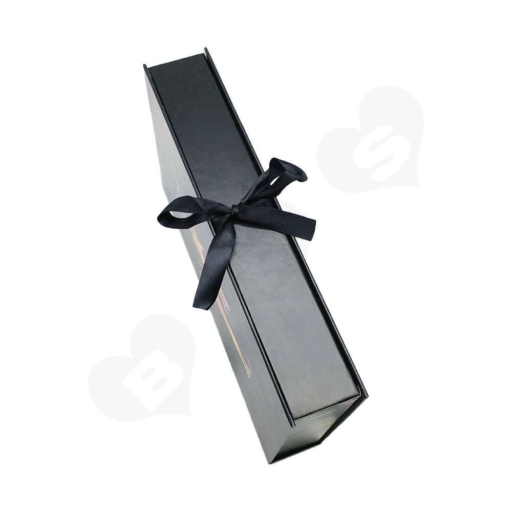 Matte Coating Book Shape Gift Box With Ribbon For Hair Extension Side View Three