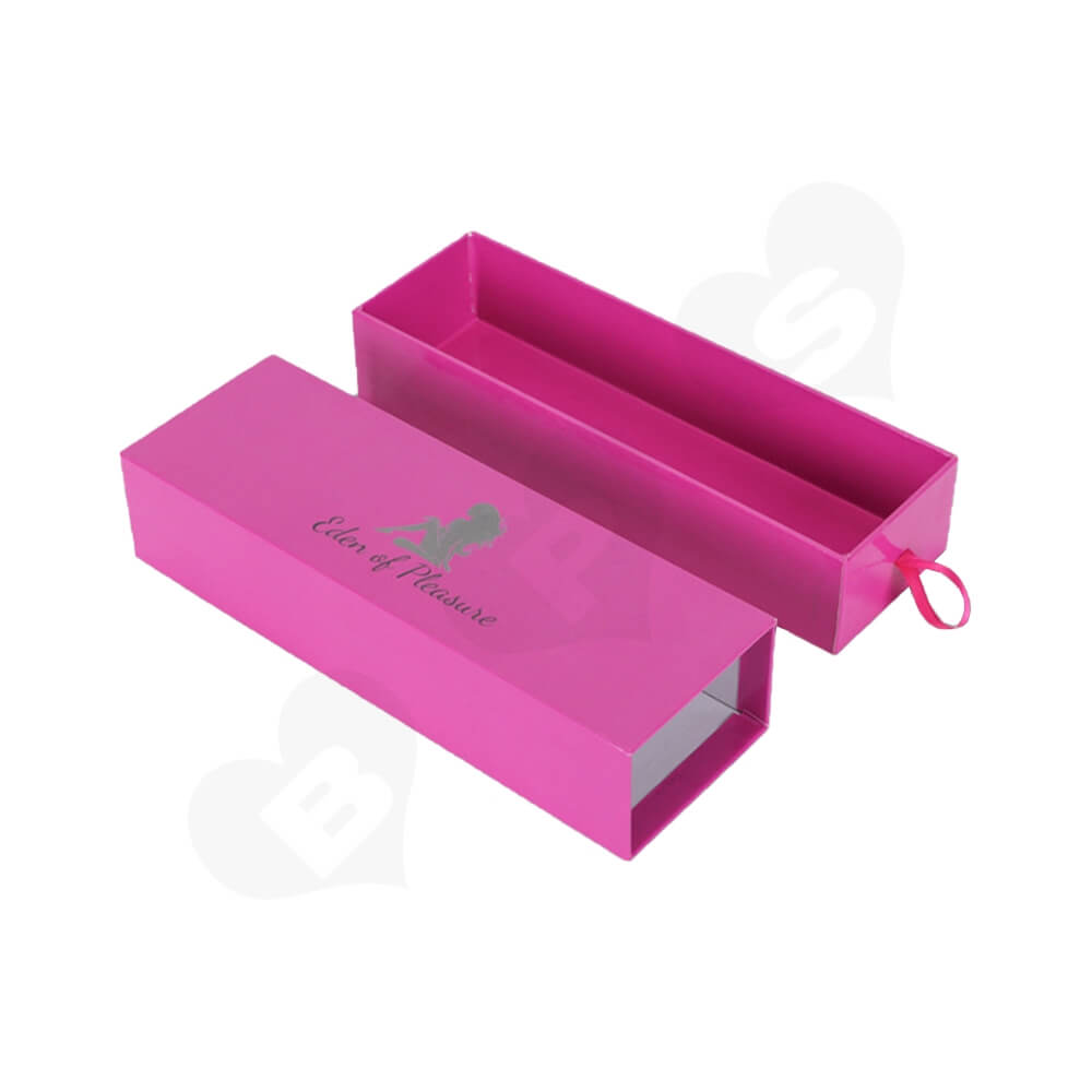 Pink Color Cardboard Drawer Box For Hair Extension Side View Two