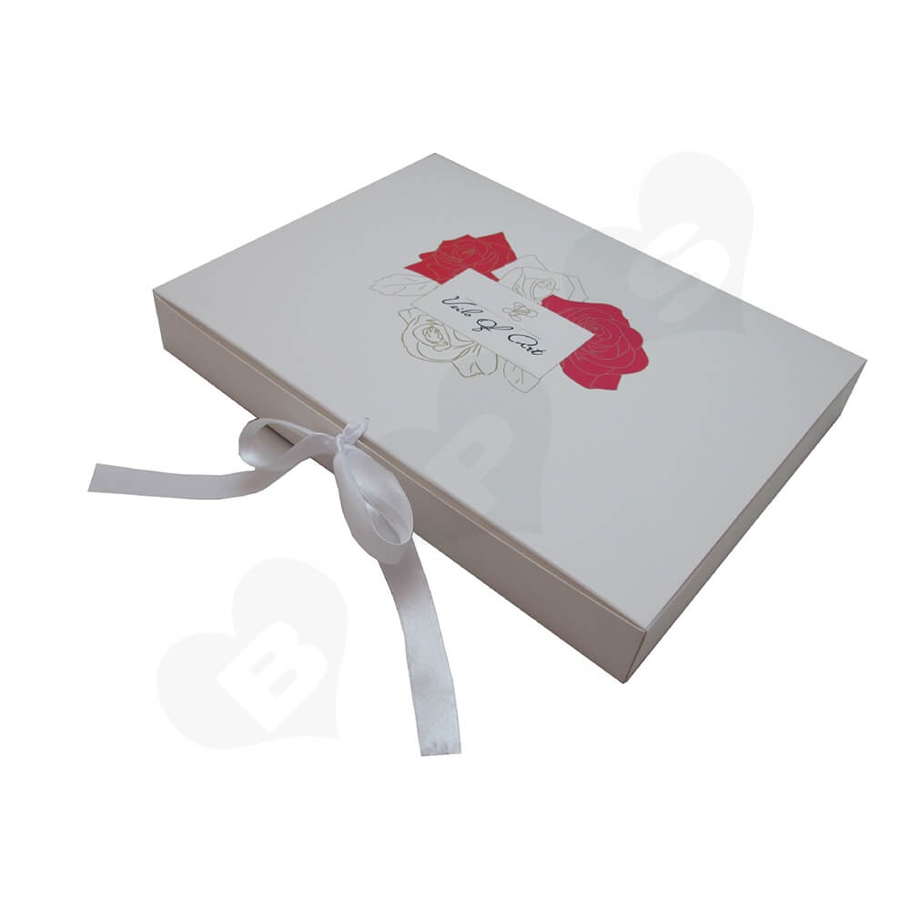 White Paperboard Box With Ribbon Closure For Hair Extension Side View Five