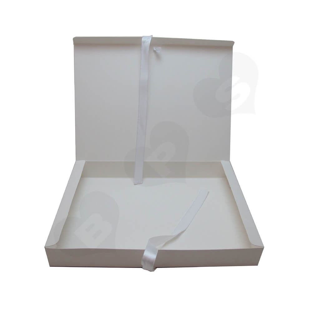 White Paperboard Box With Ribbon Closure For Hair Extension Side View Four