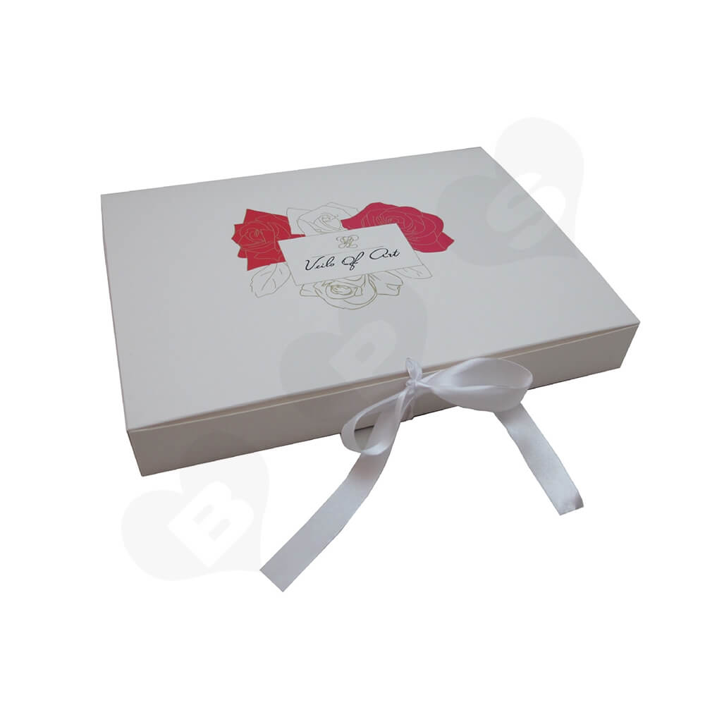 White Paperboard Box With Ribbon Closure For Hair Extension Side View One