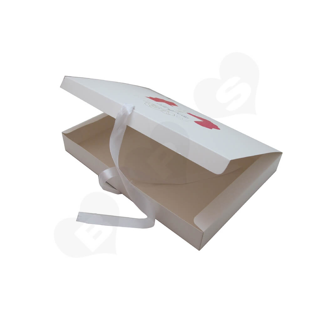 White Paperboard Box With Ribbon Closure For Hair Extension Side View Three