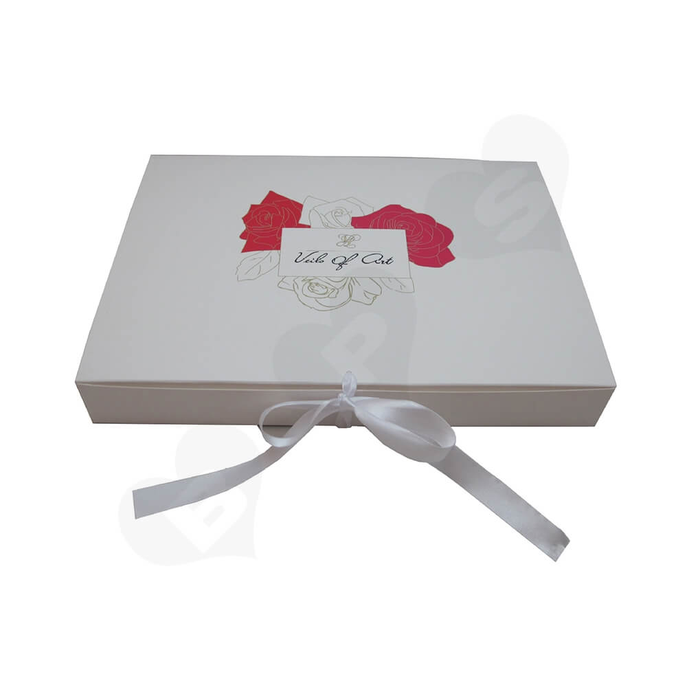 White Paperboard Box With Ribbon Closure For Hair Extension Side View Two
