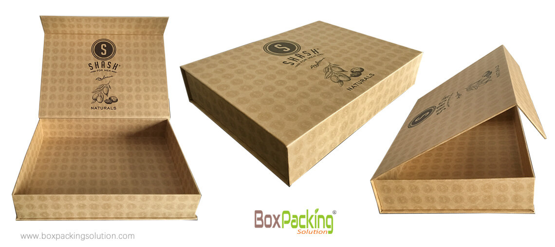 Brown Recycled Cardboard Box For Cosmetic Products With Custom Logo