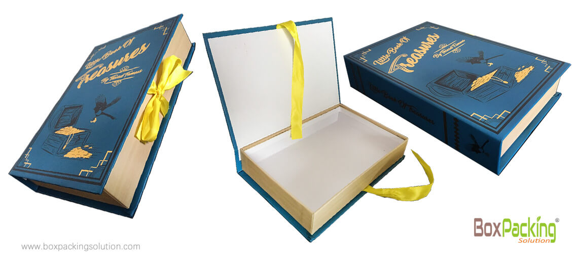 Customized Made Book Shape Box Made From Sustainable Cardboard Material