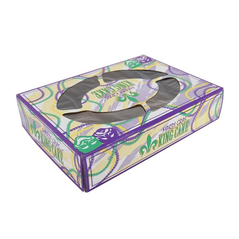 Aqueous coated cake box packaging