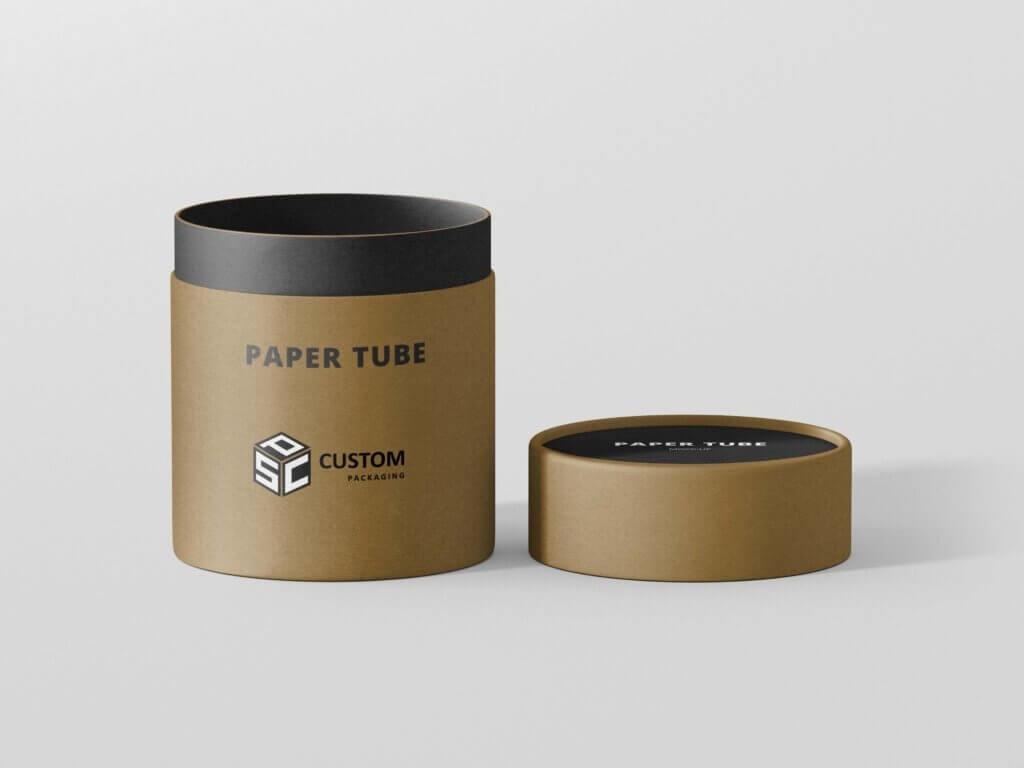 Brown cardboard hinged lid tube packaging box mock-up
