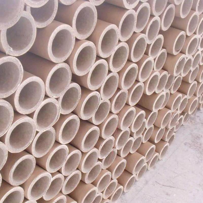 Brown industrial cardboard tube inside white
