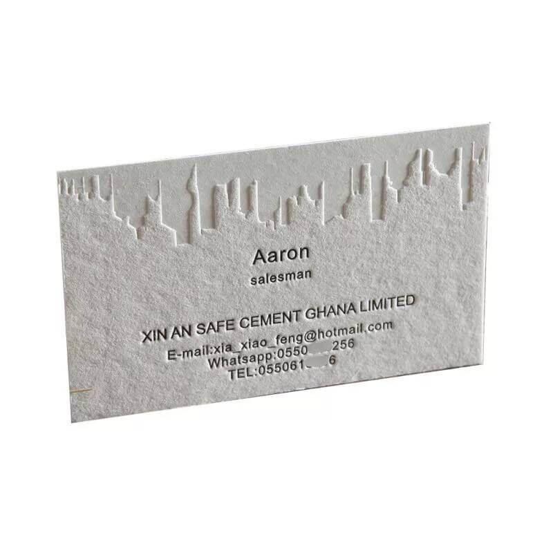 Debossed paper business card