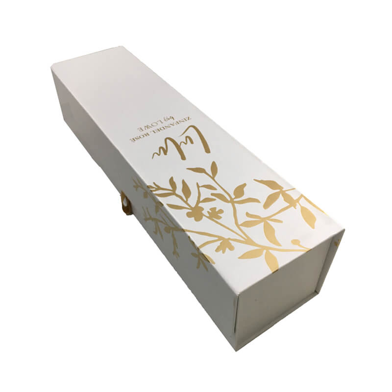 Foldable rigid wine packaging box