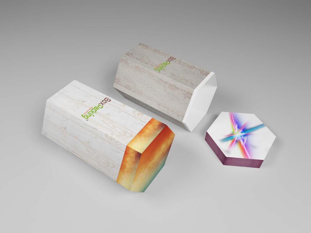 Hexagon Cardboard drum tube Box printing Mock-up