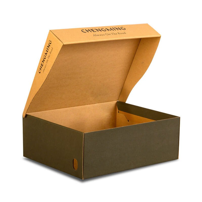 Hinged lid shoe packaging box