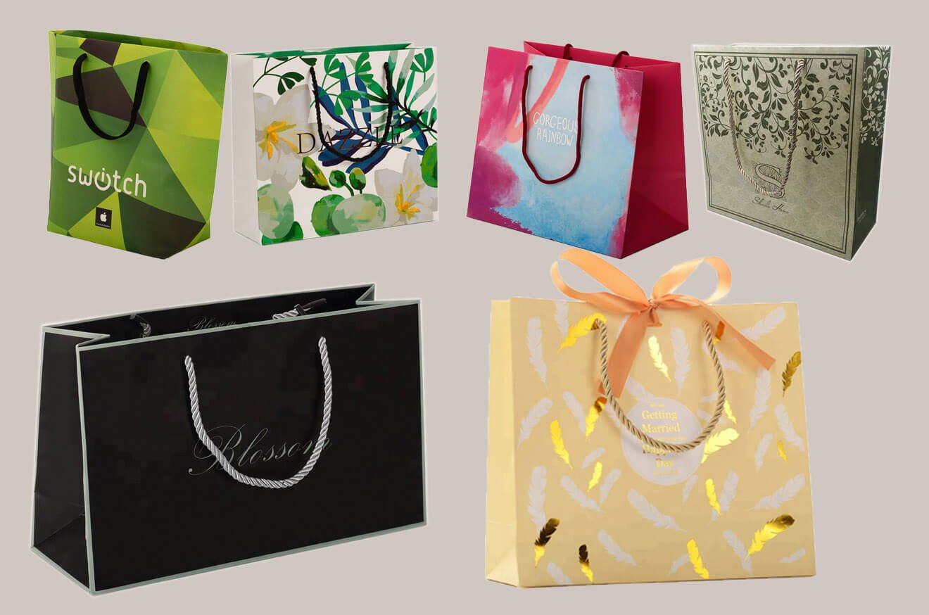 Nylon handle custom paper bags