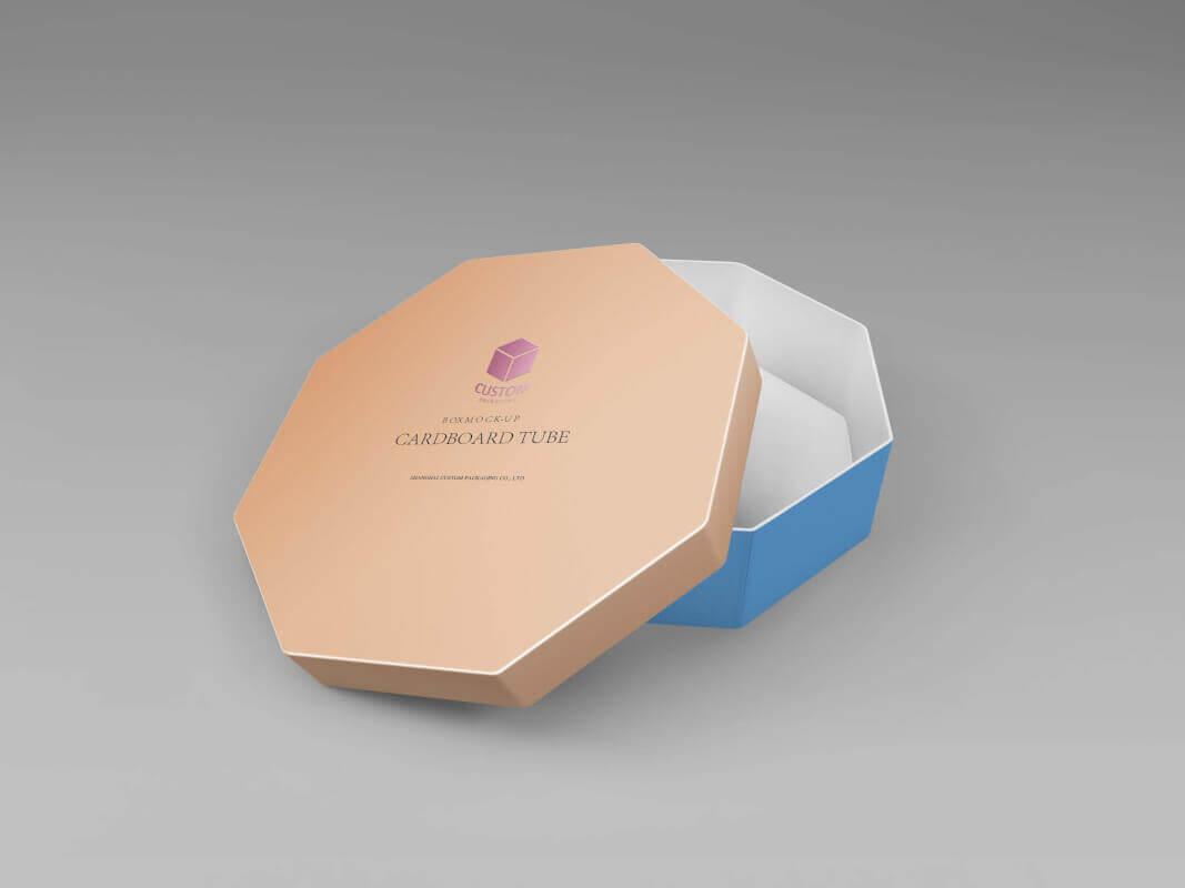 Octagon rigid cardboard tube box mockup